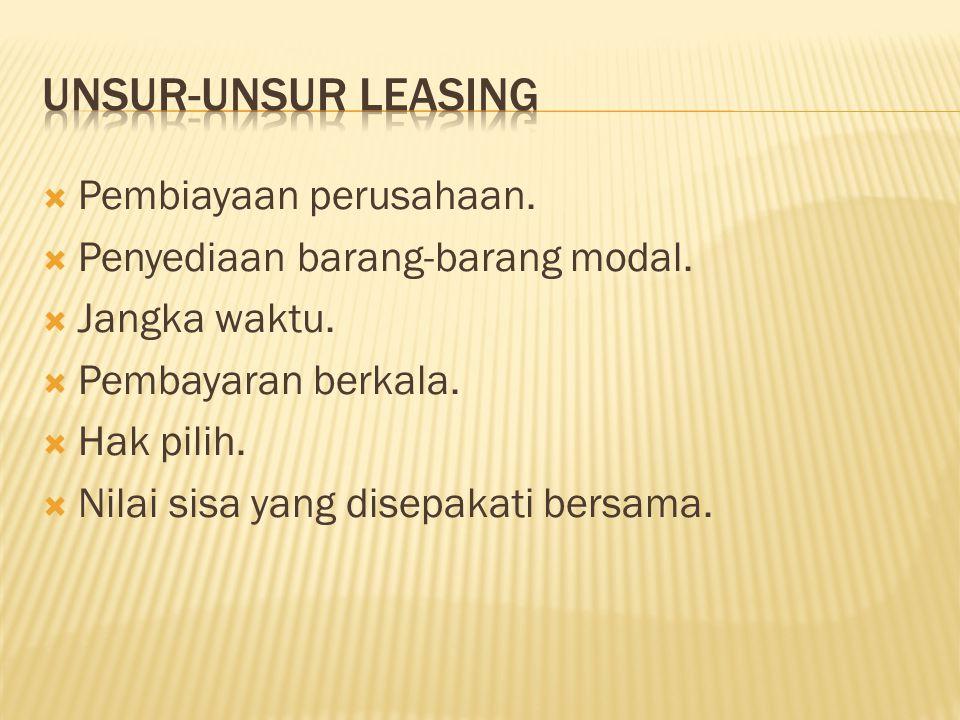 Unsur-Unsur Leasing Pembiayaan perusahaan.