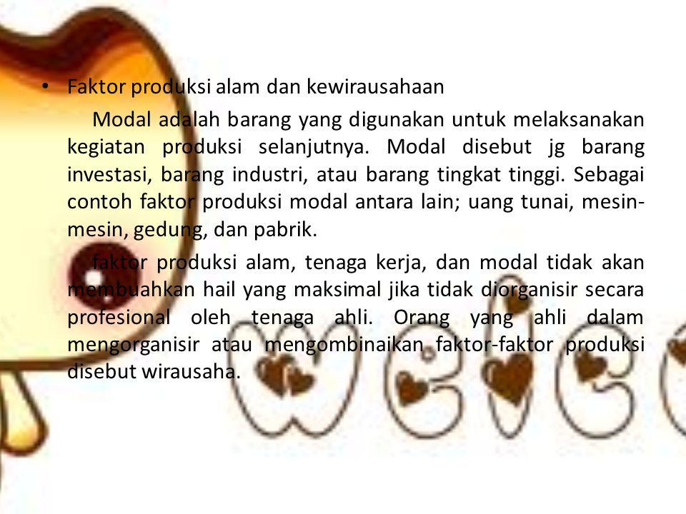 Faktor produksi alam dan kewirausahaan