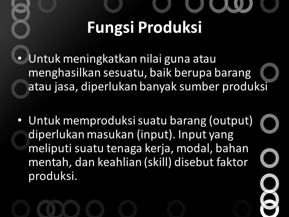 Fungsi Produksi Untuk meningkatkan nilai guna atau menghasilkan sesuatu, baik berupa barang atau jasa, diperlukan banyak sumber produksi.