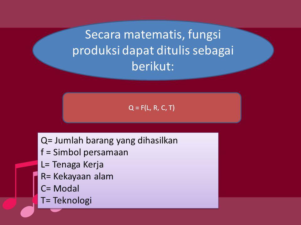 Secara matematis, fungsi produksi dapat ditulis sebagai berikut: