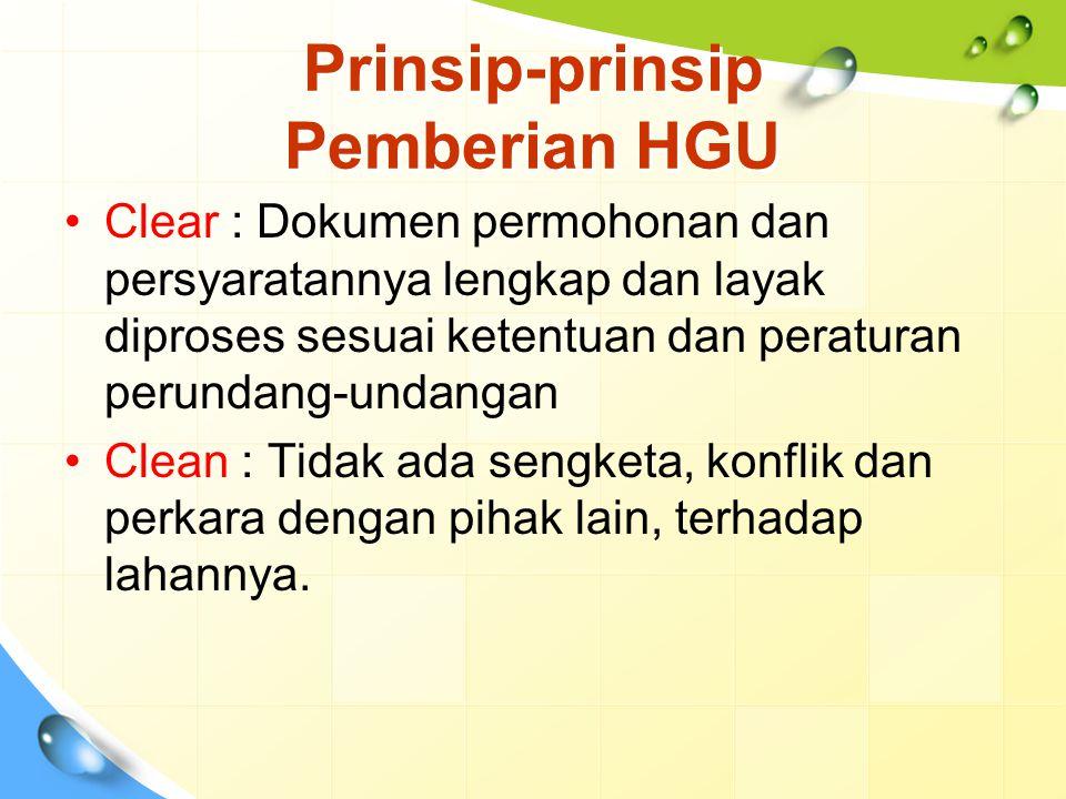 Prinsip-prinsip Pemberian HGU