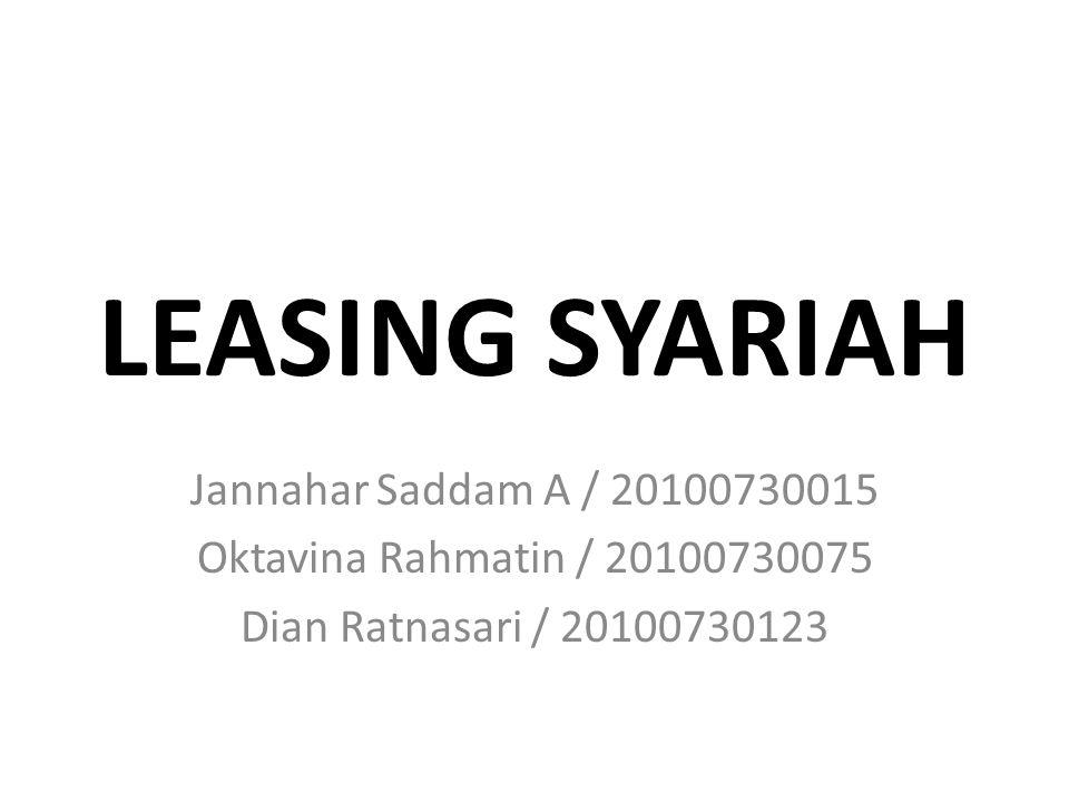 LEASING SYARIAH Jannahar Saddam A / 20100730015