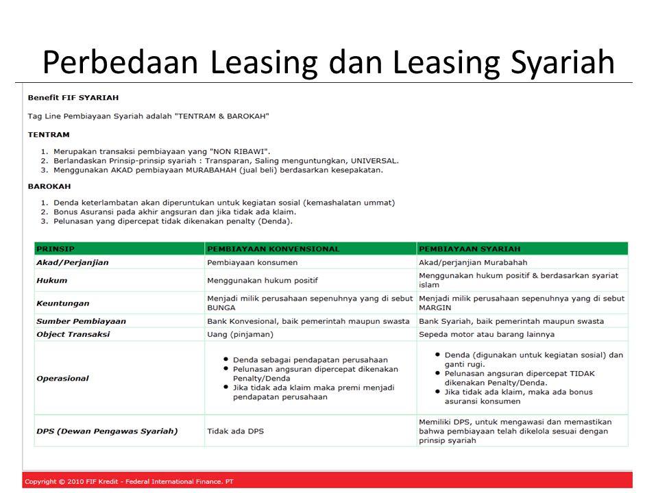 Perbedaan Leasing dan Leasing Syariah
