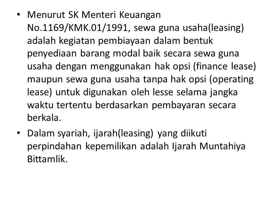 Menurut SK Menteri Keuangan No. 1169/KMK