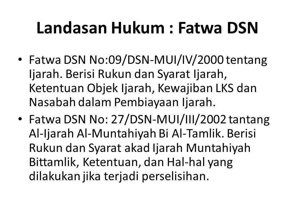 Landasan Hukum : Fatwa DSN