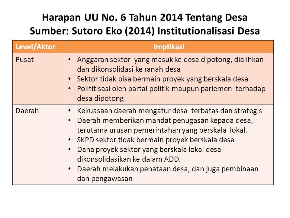 Harapan UU No. 6 Tahun 2014 Tentang Desa Sumber: Sutoro Eko (2014) Institutionalisasi Desa