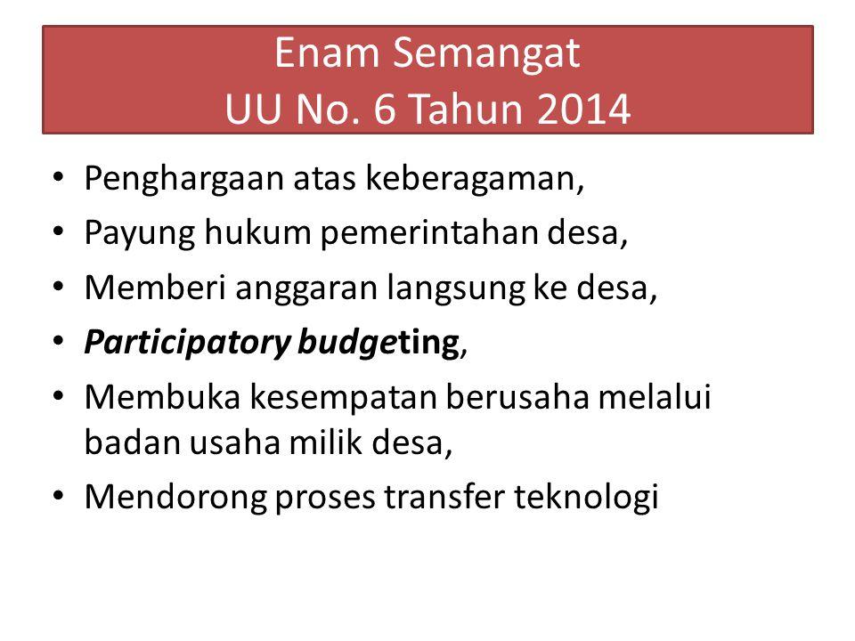 Enam Semangat UU No. 6 Tahun 2014