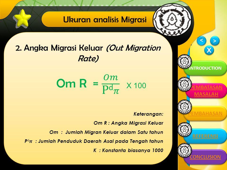 Om R = 𝑂𝑚 Pd𝜋 Ukuran analisis Migrasi