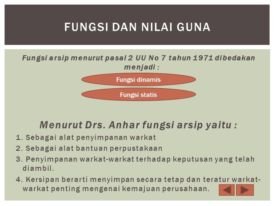 Fungsi dan nilai guna Menurut Drs. Anhar fungsi arsip yaitu :