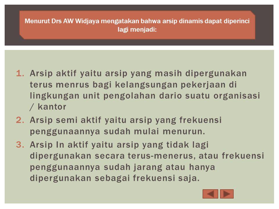 Menurut Drs AW Widjaya mengatakan bahwa arsip dinamis dapat diperinci lagi menjadi: