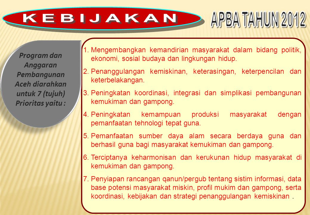 KEBIJAKAN APBA TAHUN 2012. Program dan Anggaran Pembangunan Aceh diarahkan untuk 7 (tujuh) Prioritas yaitu :