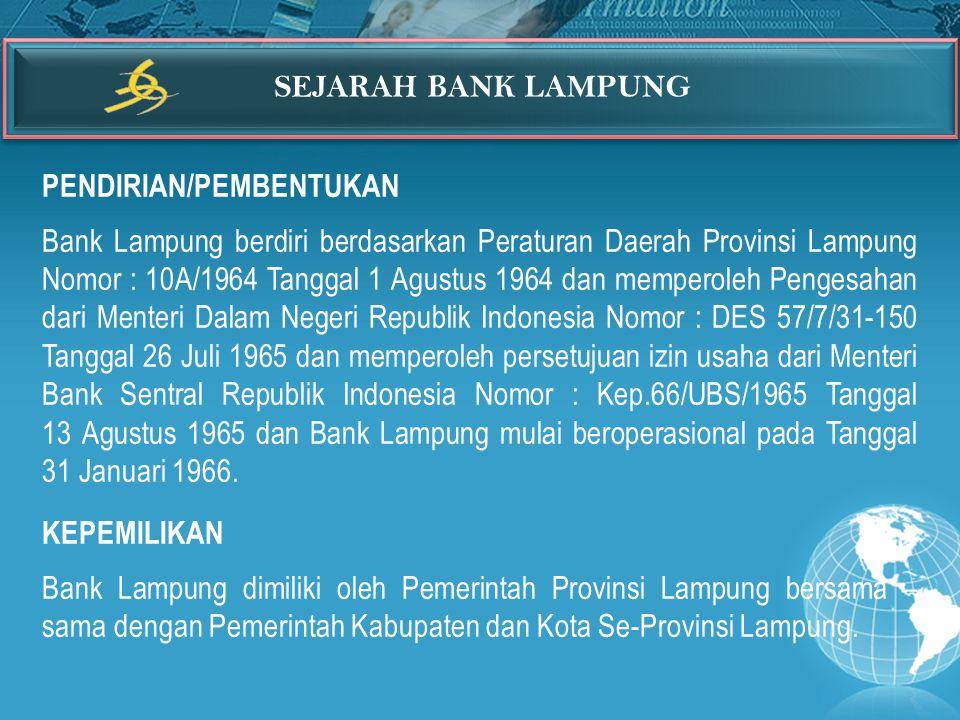 SEJARAH BANK LAMPUNG PENDIRIAN/PEMBENTUKAN.