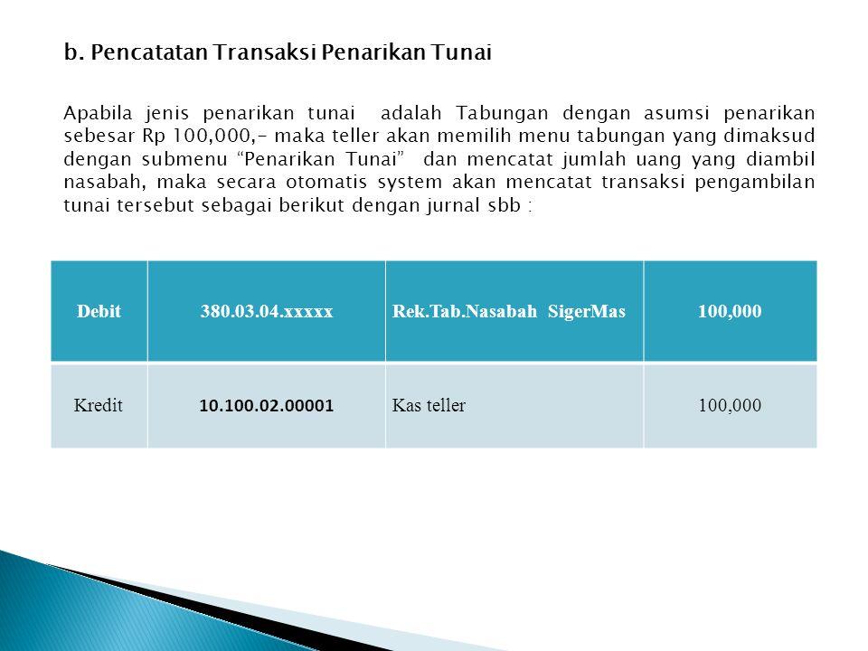 b. Pencatatan Transaksi Penarikan Tunai
