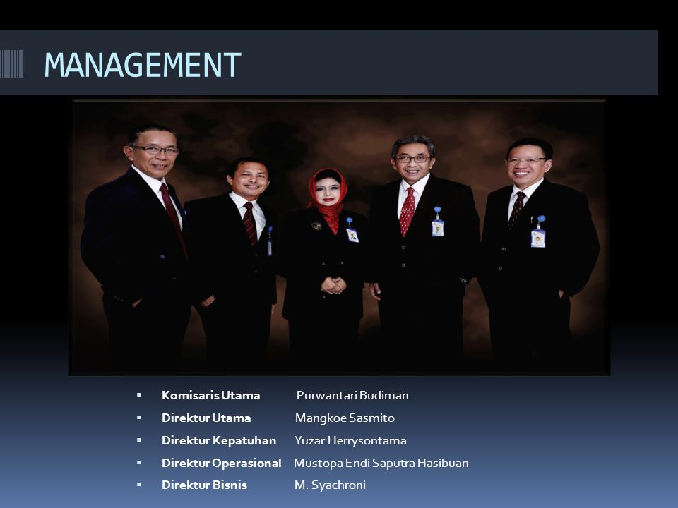 MANAGEMENT Komisaris Utama Purwantari Budiman