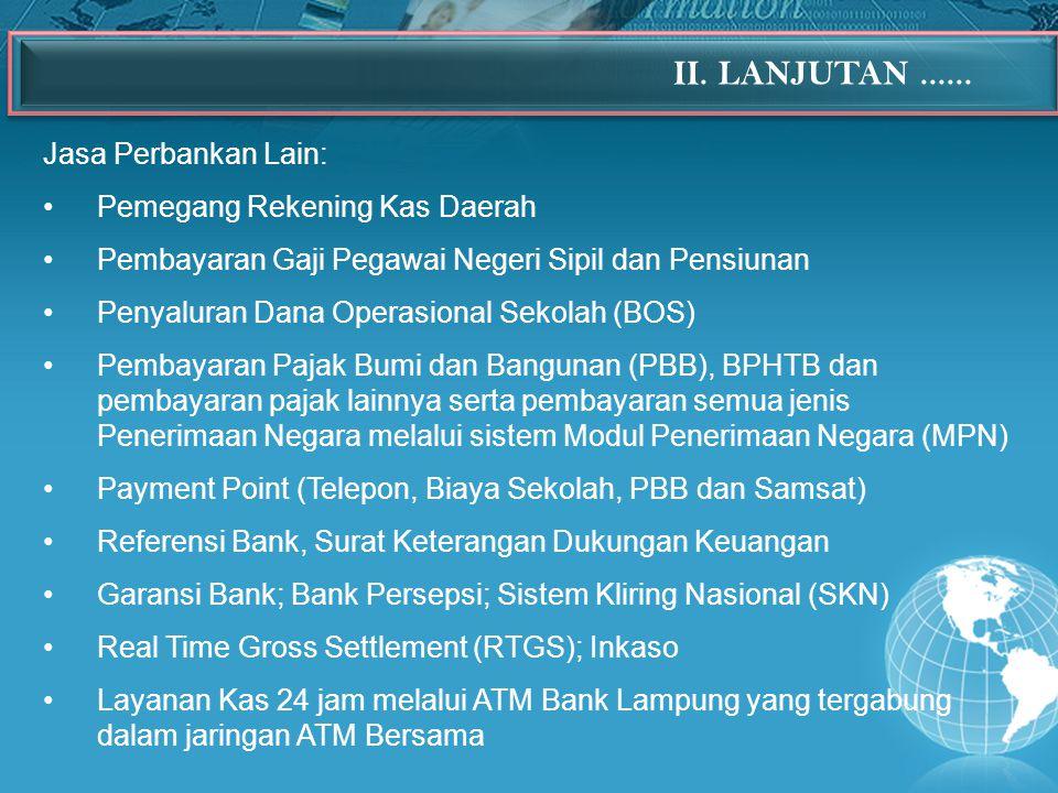 II. LANJUTAN ...... Jasa Perbankan Lain: Pemegang Rekening Kas Daerah