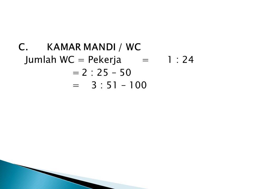C. KAMAR MANDI / WC Jumlah WC = Pekerja = 1 : 24 = 2 : 25 – 50 = 3 : 51 – 100