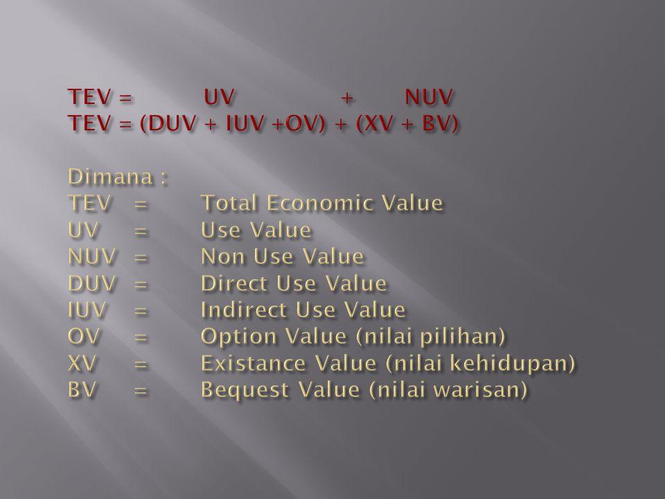 TEV = UV + NUV TEV = (DUV + IUV +OV) + (XV + BV) Dimana : TEV. =