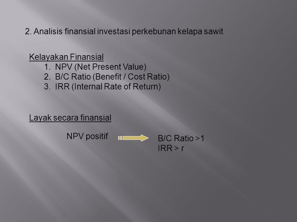 2. Analisis finansial investasi perkebunan kelapa sawit