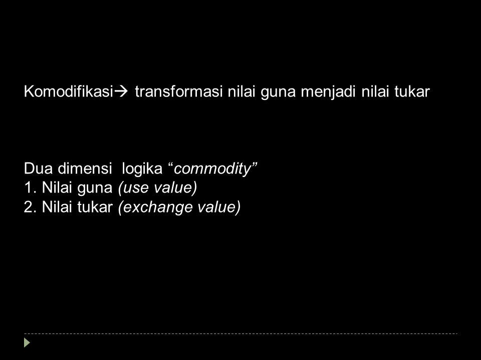 Komodifikasi transformasi nilai guna menjadi nilai tukar