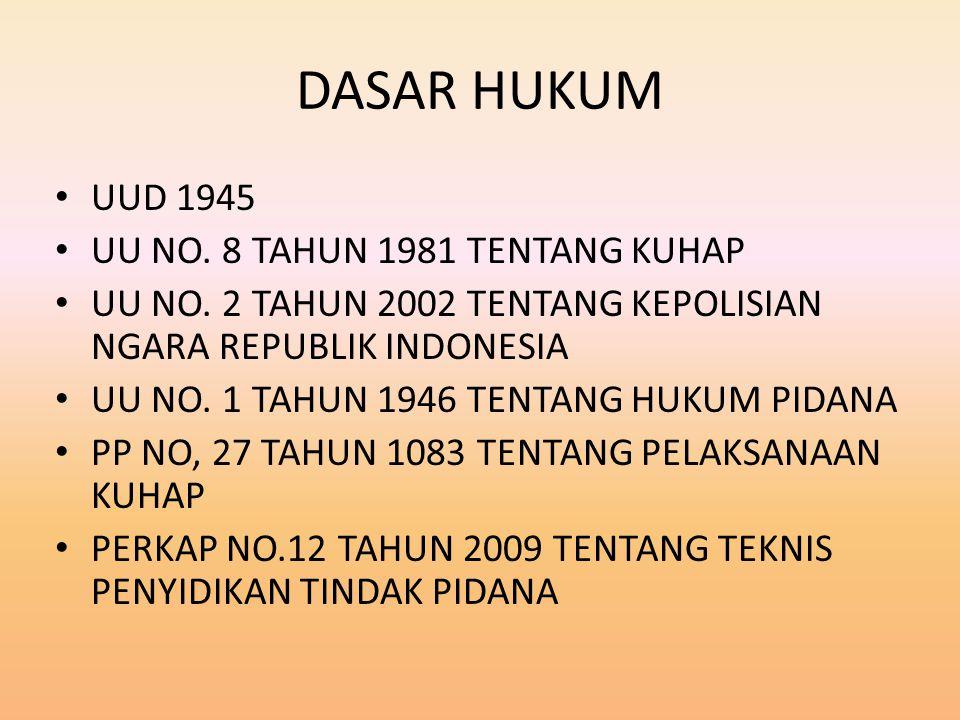 DASAR HUKUM UUD 1945 UU NO. 8 TAHUN 1981 TENTANG KUHAP