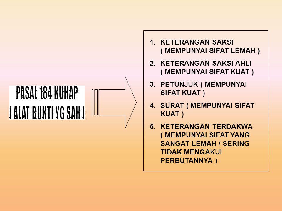 PASAL 184 KUHAP ( ALAT BUKTI YG SAH )