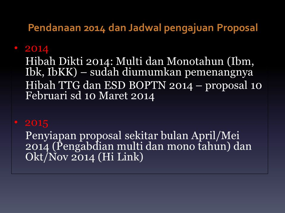 Pendanaan 2014 dan Jadwal pengajuan Proposal