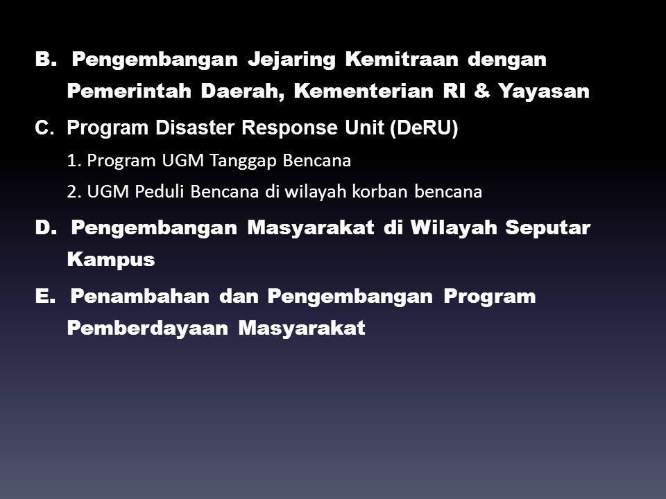 B. Pengembangan Jejaring Kemitraan dengan Pemerintah Daerah, Kementerian RI & Yayasan C.