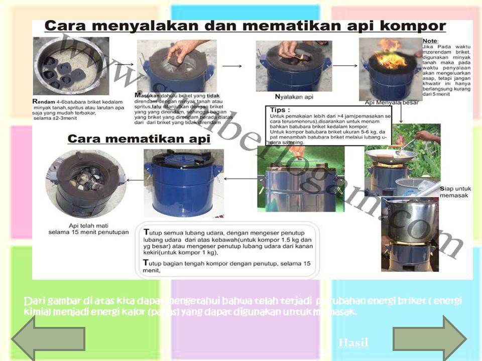 Dari gambar di atas kita dapat mengetahui bahwa telah terjadi perubahan energi briket ( energi kimia) menjadi energi kalor (panas) yang dapat digunakan untuk memasak.