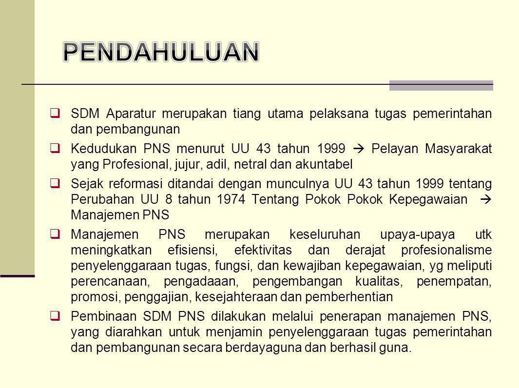 PENDAHULUAN SDM Aparatur merupakan tiang utama pelaksana tugas pemerintahan dan pembangunan.