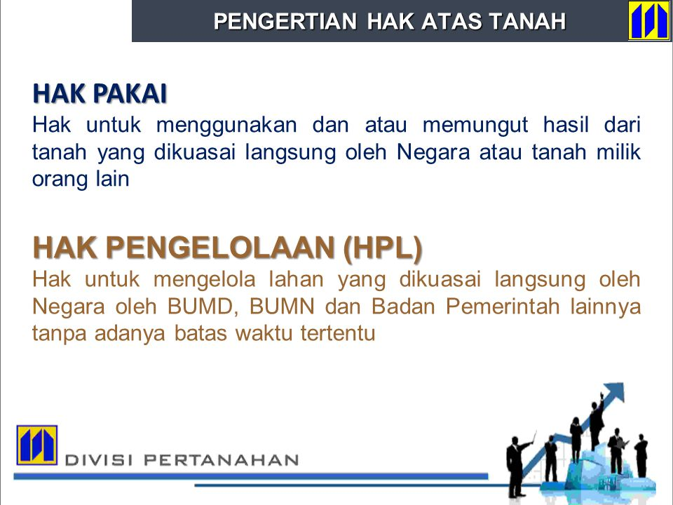 HAK PAKAI HAK PENGELOLAAN (HPL) PENGERTIAN HAK ATAS TANAH