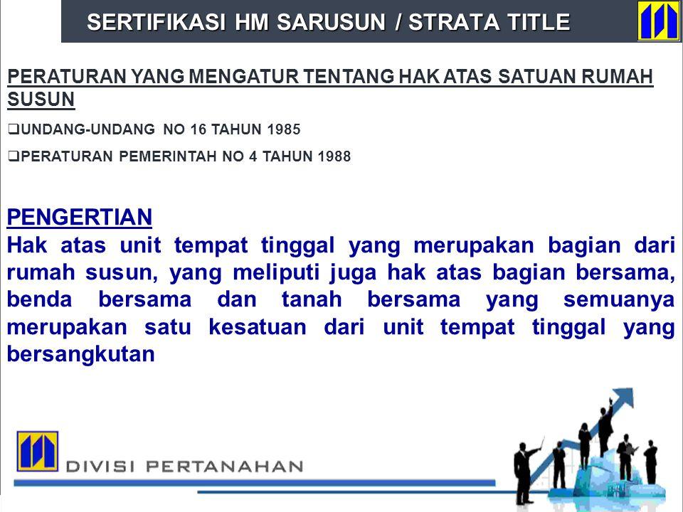 SERTIFIKASI HM SARUSUN / STRATA TITLE