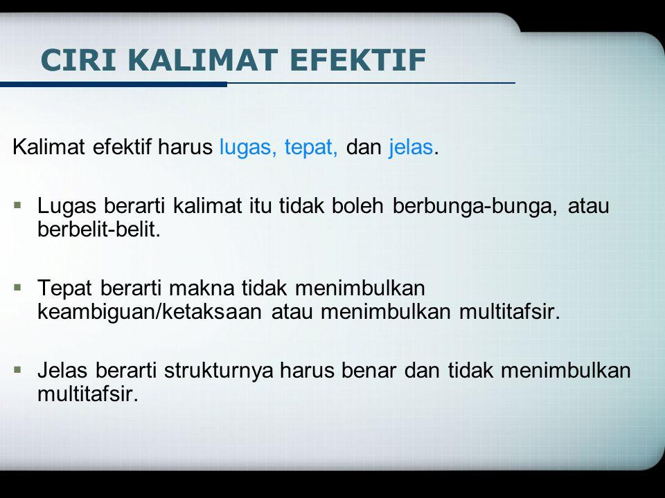 CIRI KALIMAT EFEKTIF Kalimat efektif harus lugas, tepat, dan jelas.