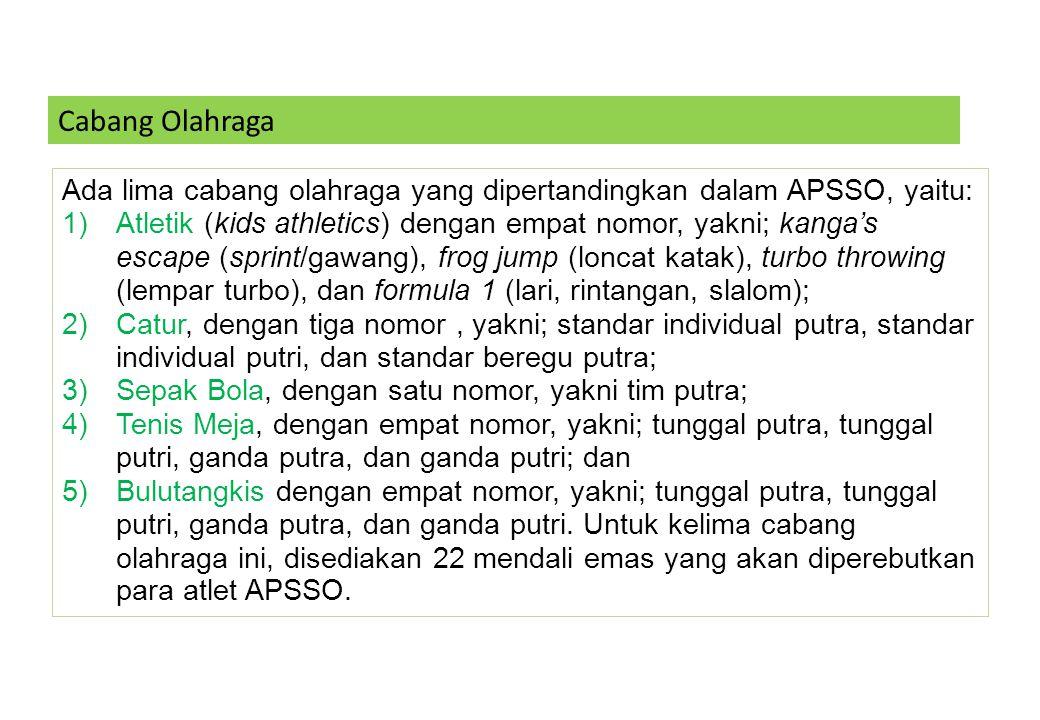 Cabang Olahraga Ada lima cabang olahraga yang dipertandingkan dalam APSSO, yaitu: