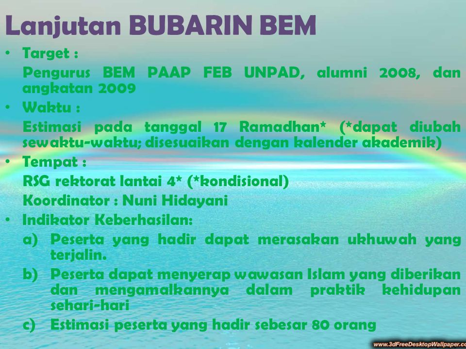 Lanjutan BUBARIN BEM Target :