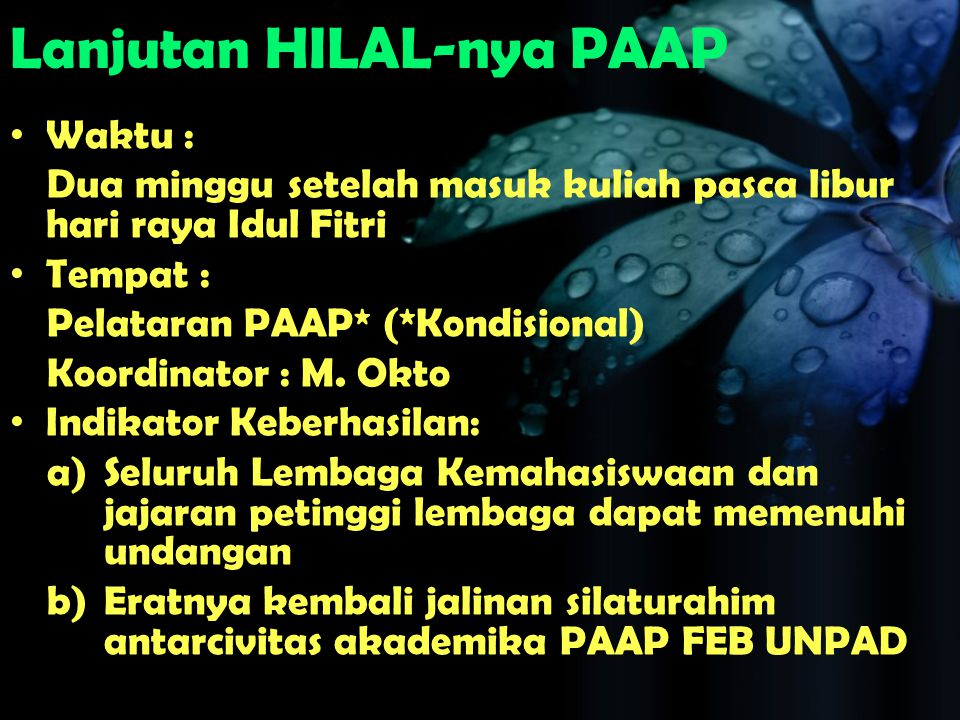 Lanjutan HILAL-nya PAAP