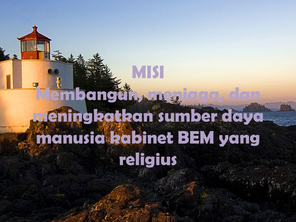 MISI Membangun, menjaga, dan meningkatkan sumber daya manusia kabinet BEM yang religius