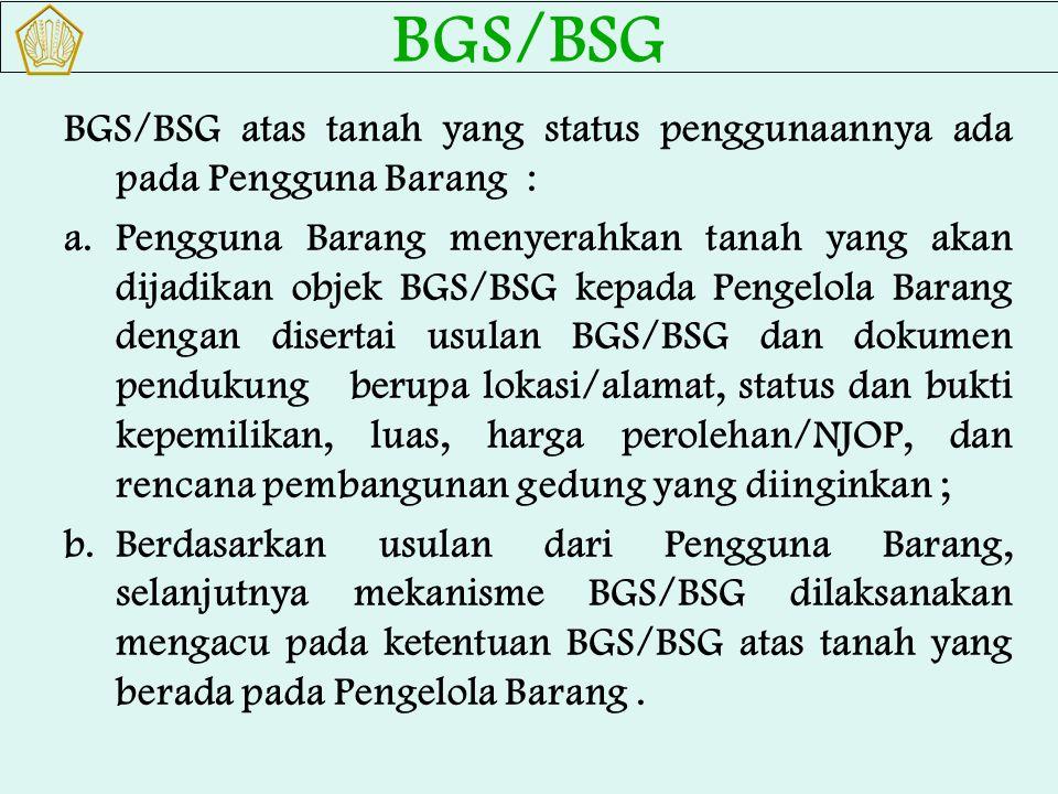 BGS/BSG BGS/BSG atas tanah yang status penggunaannya ada pada Pengguna Barang :