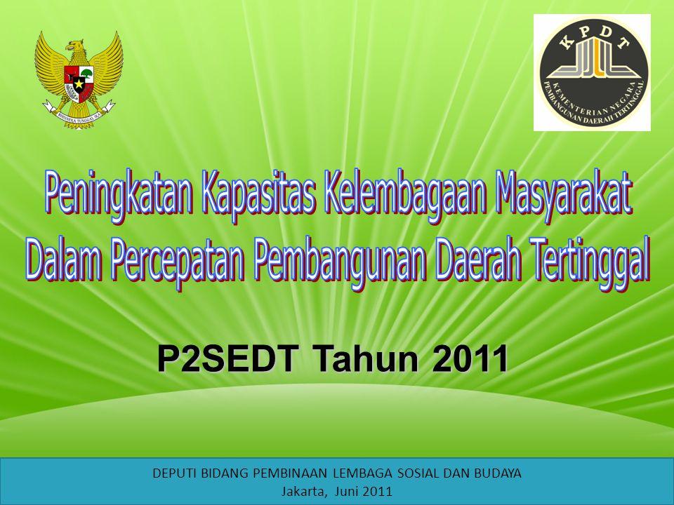 P2SEDT Tahun 2011 Peningkatan Kapasitas Kelembagaan Masyarakat