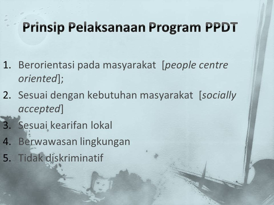 Prinsip Pelaksanaan Program PPDT
