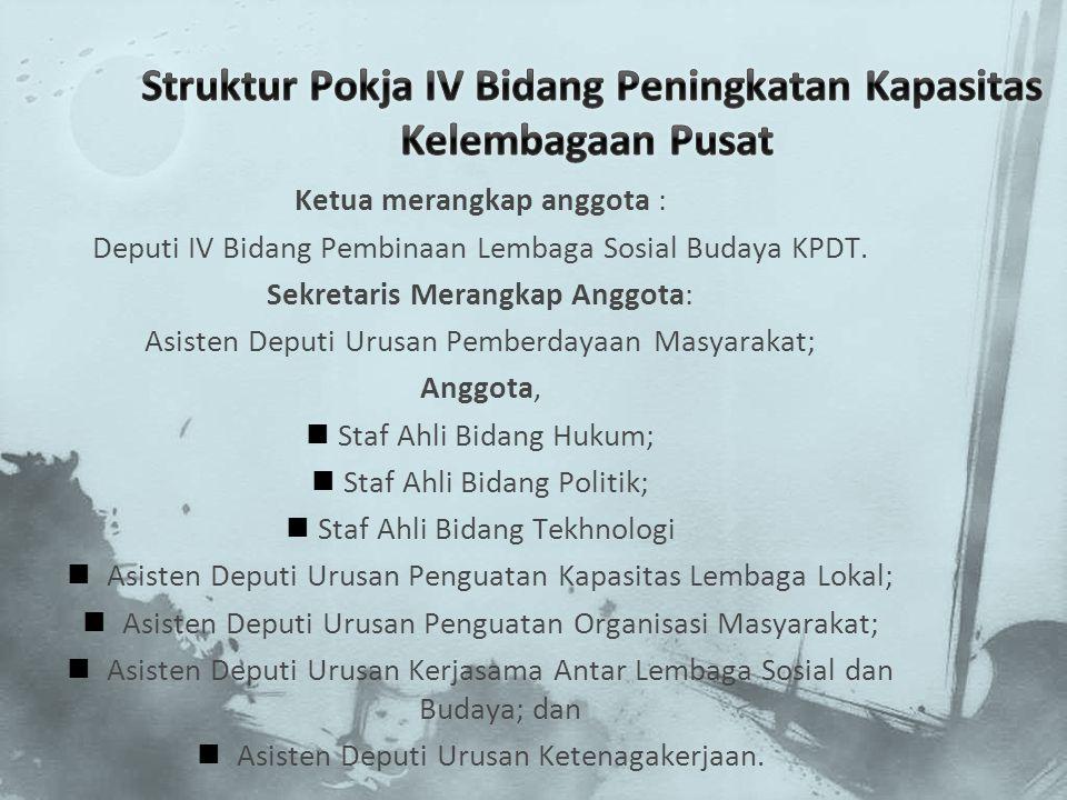 Struktur Pokja IV Bidang Peningkatan Kapasitas Kelembagaan Pusat