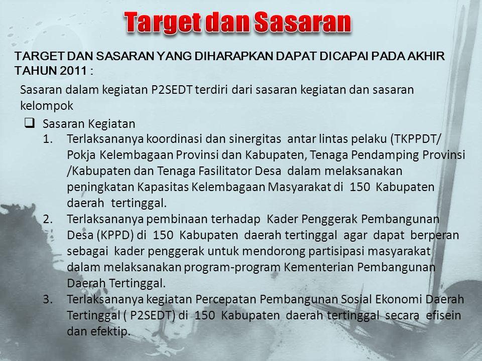Target dan Sasaran TARGET DAN SASARAN YANG DIHARAPKAN DAPAT DICAPAI PADA AKHIR TAHUN 2011 :