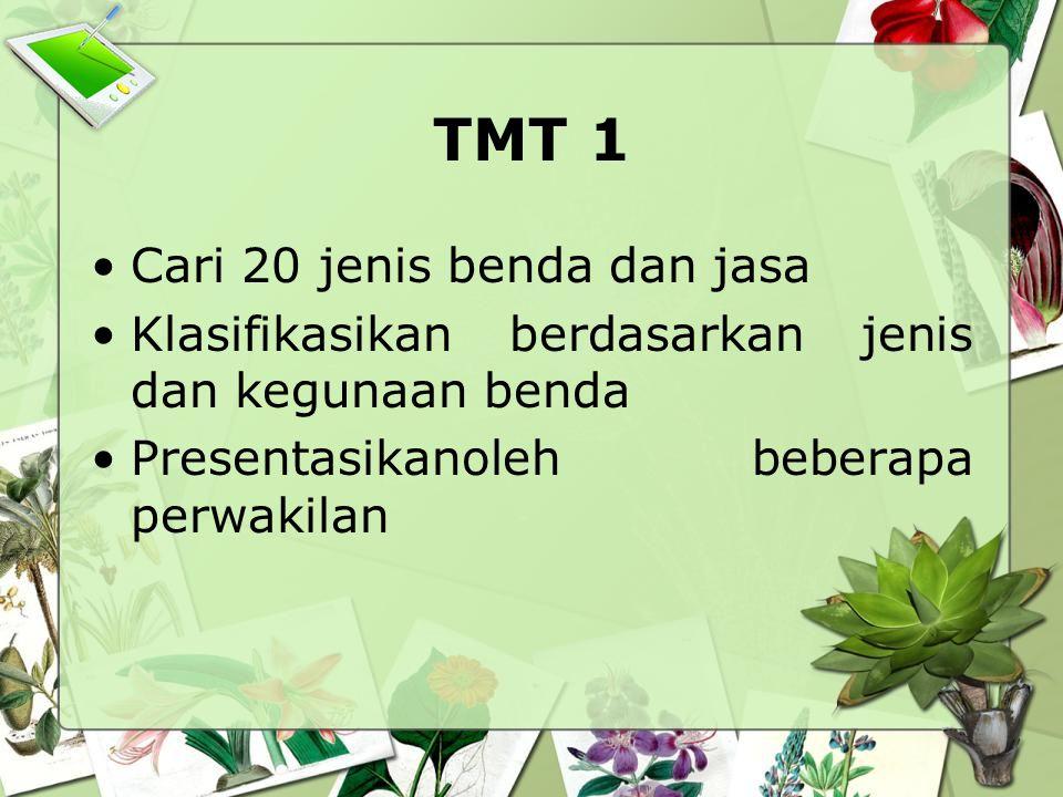 TMT 1 Cari 20 jenis benda dan jasa