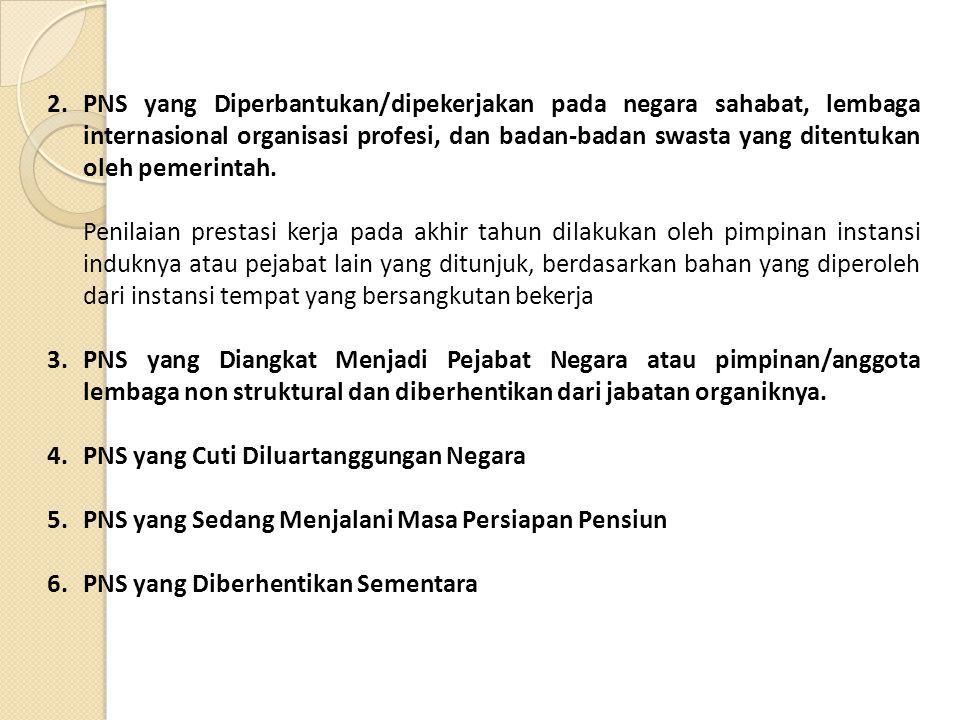 PNS yang Diperbantukan/dipekerjakan pada negara sahabat, lembaga internasional organisasi profesi, dan badan-badan swasta yang ditentukan oleh pemerintah.