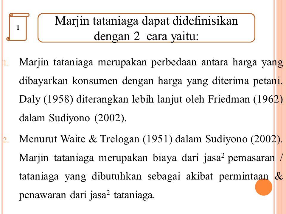 Marjin tataniaga dapat didefinisikan dengan 2 cara yaitu: