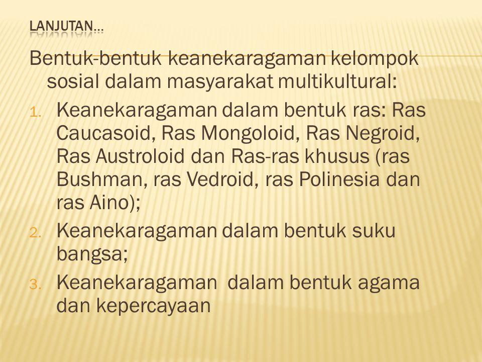 Keanekaragaman dalam bentuk suku bangsa;