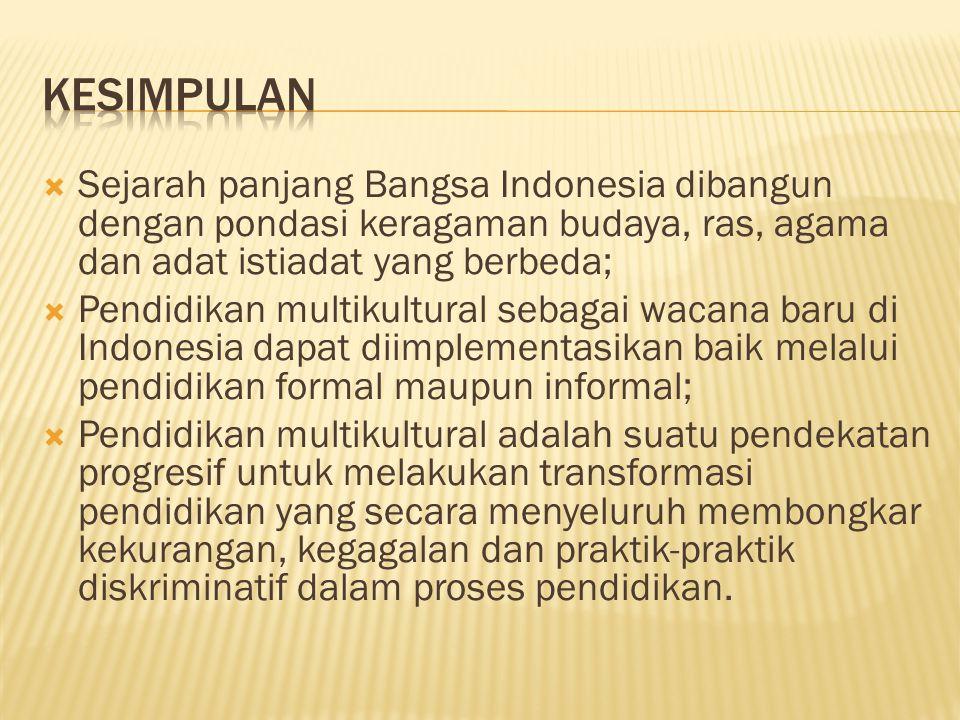 KESIMPULAN Sejarah panjang Bangsa Indonesia dibangun dengan pondasi keragaman budaya, ras, agama dan adat istiadat yang berbeda;