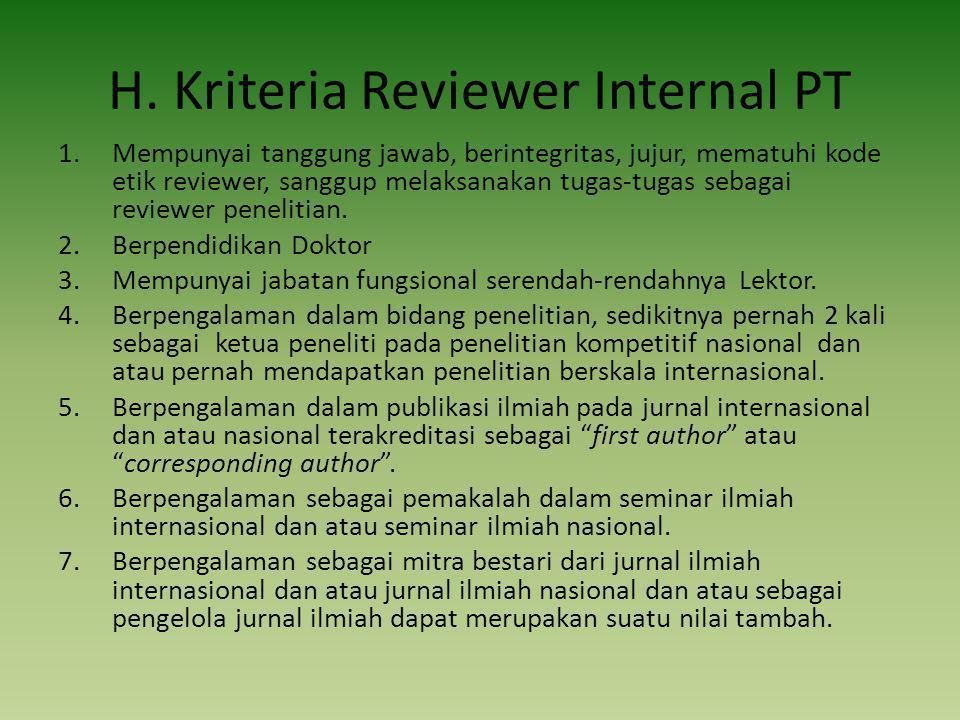H. Kriteria Reviewer Internal PT