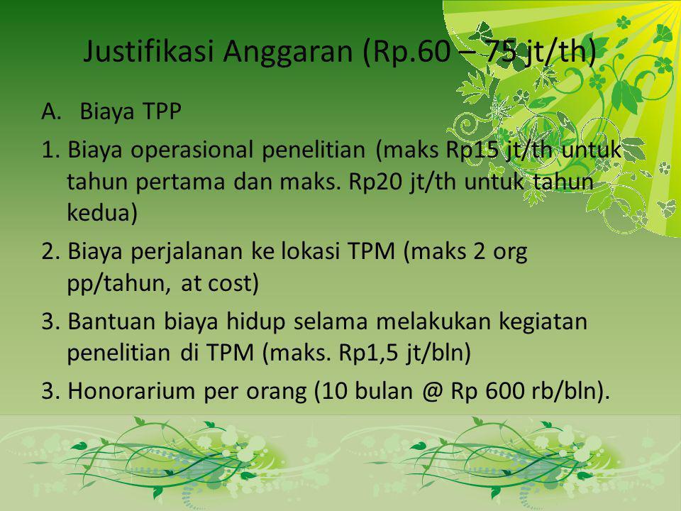 Justifikasi Anggaran (Rp.60 – 75 jt/th)
