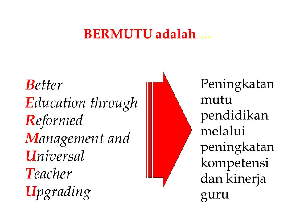Better Education through Reformed Management and Universal Teacher