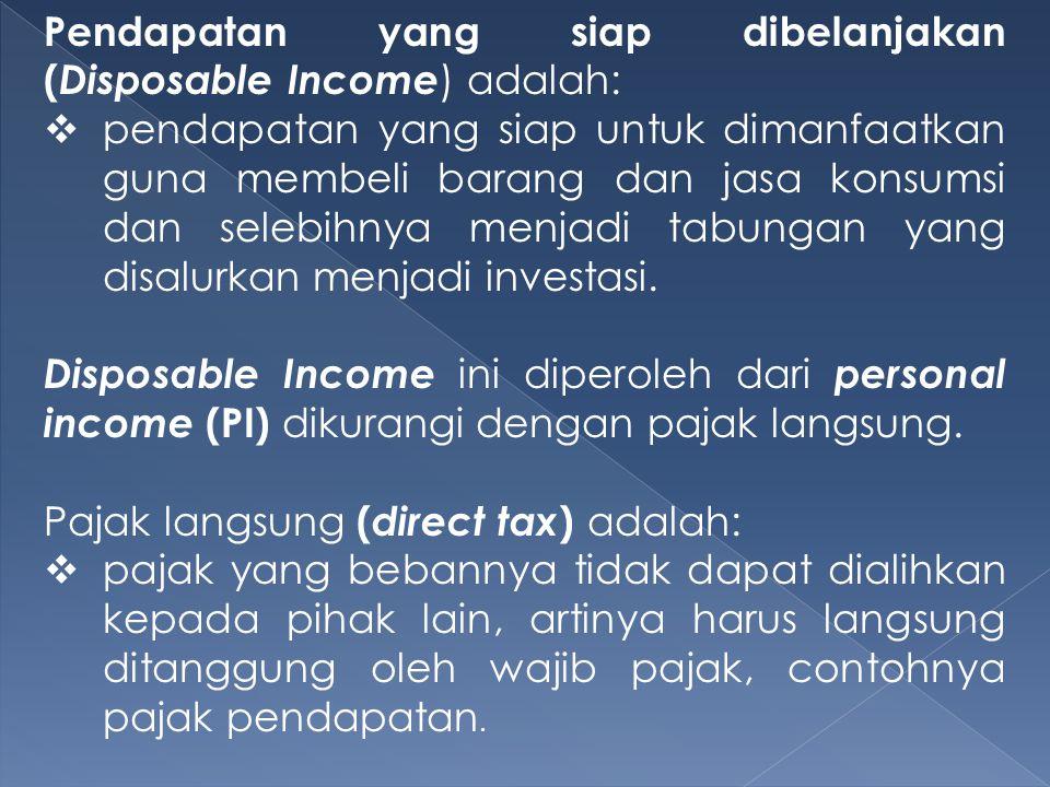 Pendapatan yang siap dibelanjakan (Disposable Income) adalah: